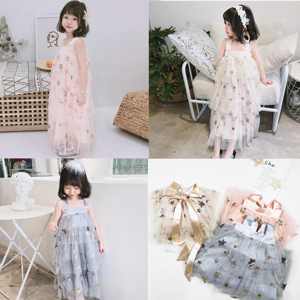 Summer 2019 Kids Dresses For Girls Casual Wear Bling Star Girl Long Dress Children Boutique Clothing Tutu Baby Girls Cloth G032