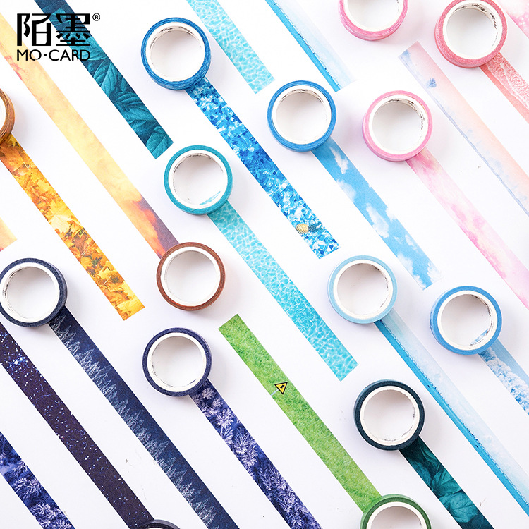 1.5cm*5m Snowflake Seaside Summer Bullet Journal  Washi Tape Adhesive Tape DIY Scrapbooking Sticker Label Masking Tape