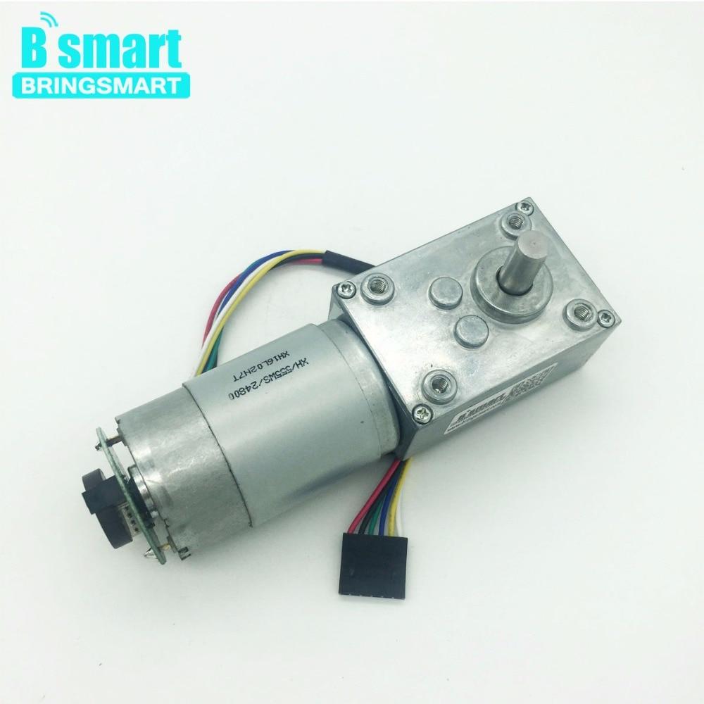 Bringsmart A58SW 555B DC Worm Geared Motor with Encoder Disk 12 Volt High Torque Turbine Worm Reducer Self Lock 24V Toys DIY