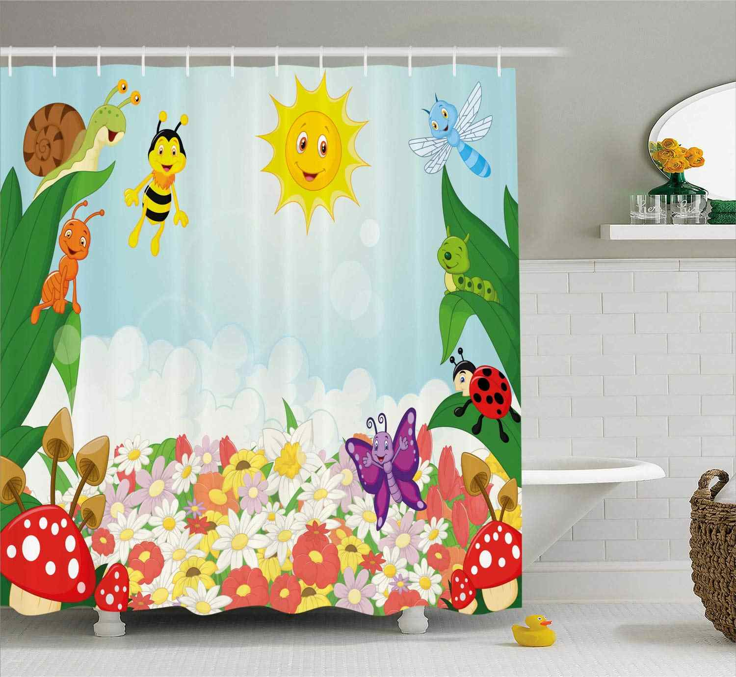 Kids Shower Curtain Bee Butterfly Ant Ladybug Snail Floral Mushroom  Baby Animal Spring Image Bathroom Set