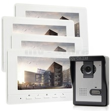 DIYKIT 800 x 480 7inch Video Intercom Video Door Phone Doorbell 1 Camera 4 Monitors for Home / Office Security System White