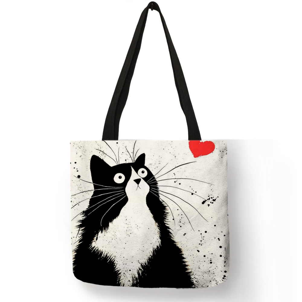 Customized Cute Cat Printing Women Handbag Linen Tote Bags with Print Logo Casual Traveling Beach Bags casual cat print ringer tee