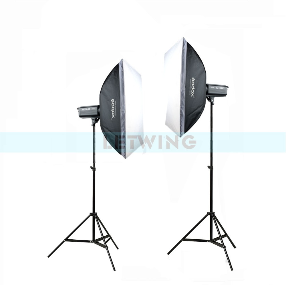 2pcs Godox SL100W Video Continuous Light 60x90cm Softbox Light Stand Photo Studio Equipment Set White Version Photography Kit 2pcs godox sl100y 3300k video continuous light 60x90cm softbox light stand photo studio equipment kit yellow version