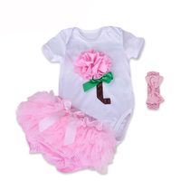 Retails Fashion Newborn Infant Baby Girl Set Christmas Clothes 3pcs Suit Flowers Bodysuit Bloomers Band Birthday