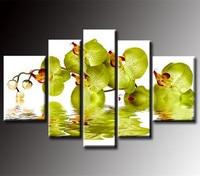 ハンド塗装抽象グリーンバタフライフラワー油絵キャンバスに手作りの花絵画大5ピース写真ウォールアート