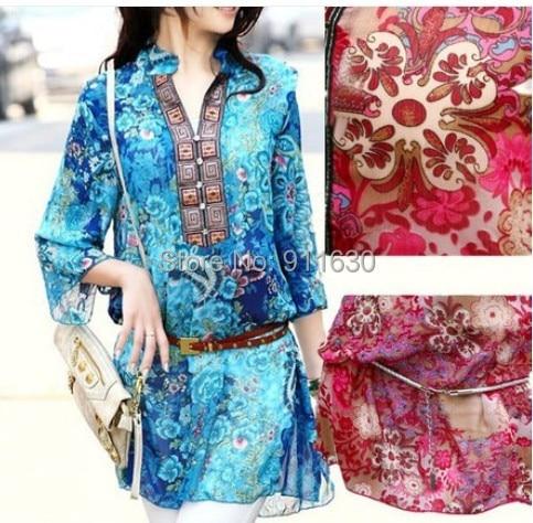 Red/Blue/Pink/Gray M,L,XXXL,4XL,5XL suit V-neck Floral women chiffon print dress new fashion spring plus size summer dress