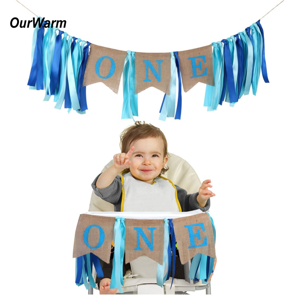 OurWarm First Birthday Girl Boy Party Banner 1st Birthday