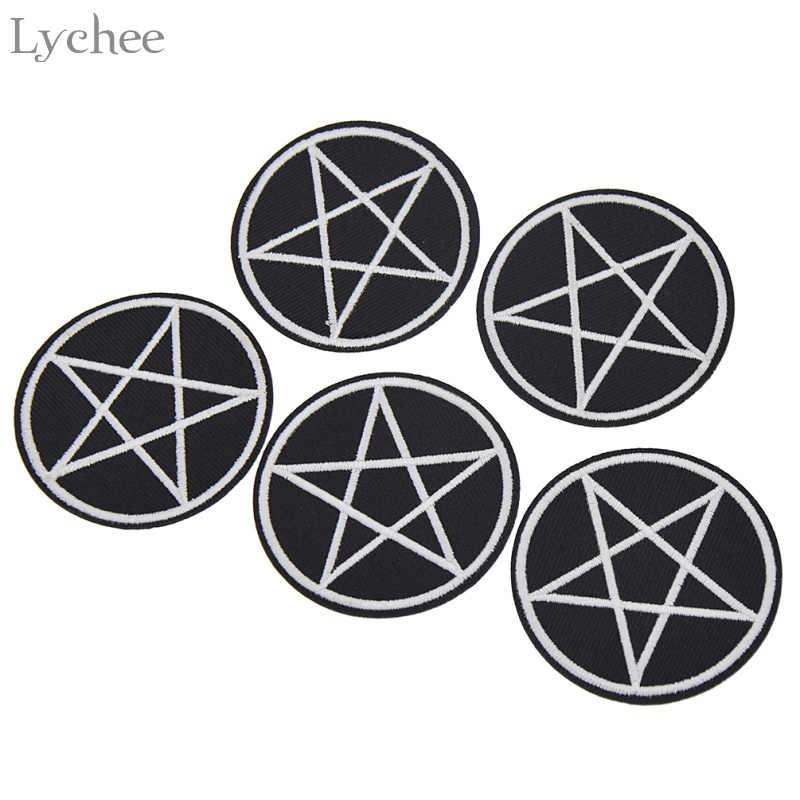 ลิ้นจี่ 5pcs Pentagram Gothic DIY ทำด้วยมือเสื้อผ้า Applique เย็บบนเสื้อผ้าเย็บปักถักร้อยหัตถกรรมสำหรับกระเป๋าหมวก