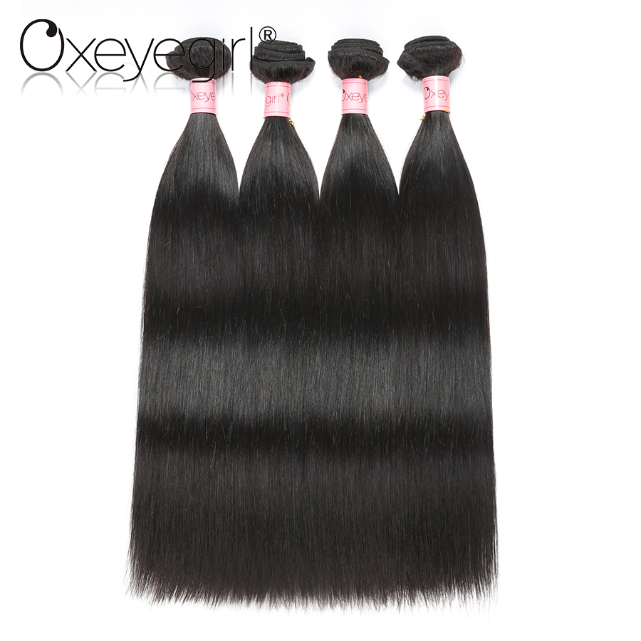 Oxeye girl Human Hair Bundles 4 Pcs/Lot 10-28 Indian Straight Hair Bundles Double Weft Hair Extensions Nonremy 100% Human Hair
