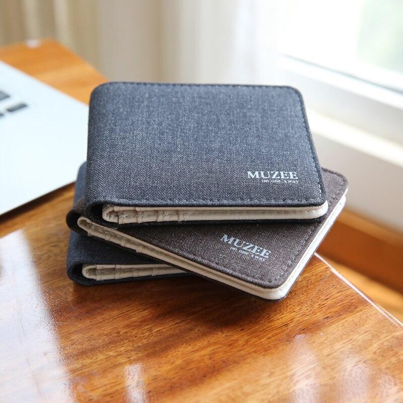 Carteras Retro nuevas de lona para hombre, carteras para hombre, titulares de tarjetas de moda, billetera pequeña con cremallera, nuevo diseño, monedero multibolsillos para hombre