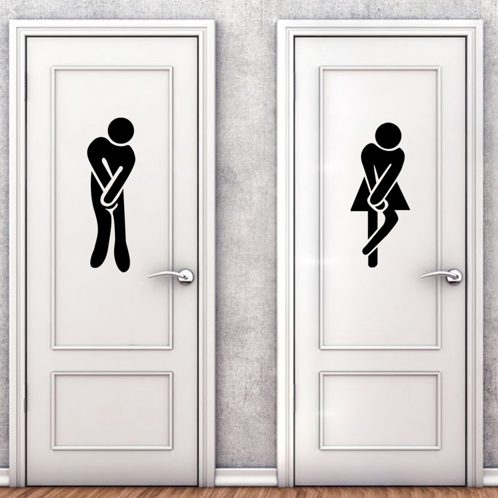 M3 M6 French Wall Stickers Funny Toilet Entrance Sign Sticker