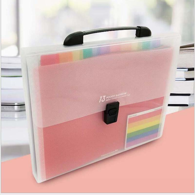 13 Layers Plastic Rainbow Color A4 File Folder Small Document Bags Expanding Wallet Bill Folders for Documents Fichario Escolar