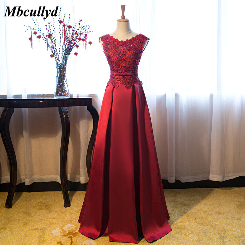 Elegant Red Satin Long   Bridesmaid     Dress   2018 New Applique Lace Open Back Wedding Party   Dress   Plus Size Vestidos dama de honor