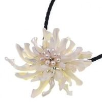 Miễn phí Vận Chuyển NEW!! Thiết Kế mới trắng ngọc trai Nước Ngọt với trắng Sea shell flower mặt dây chuyền Vòng Cổ phụ nữ Hot bán