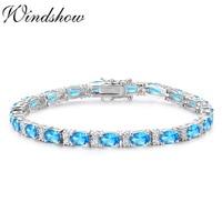 925 Sterling Silver Cluster Oval Ocean Blue Stones Tennis Bracelets For Women Pulseras Pulseira Bracelete Jewelry Girls Friend