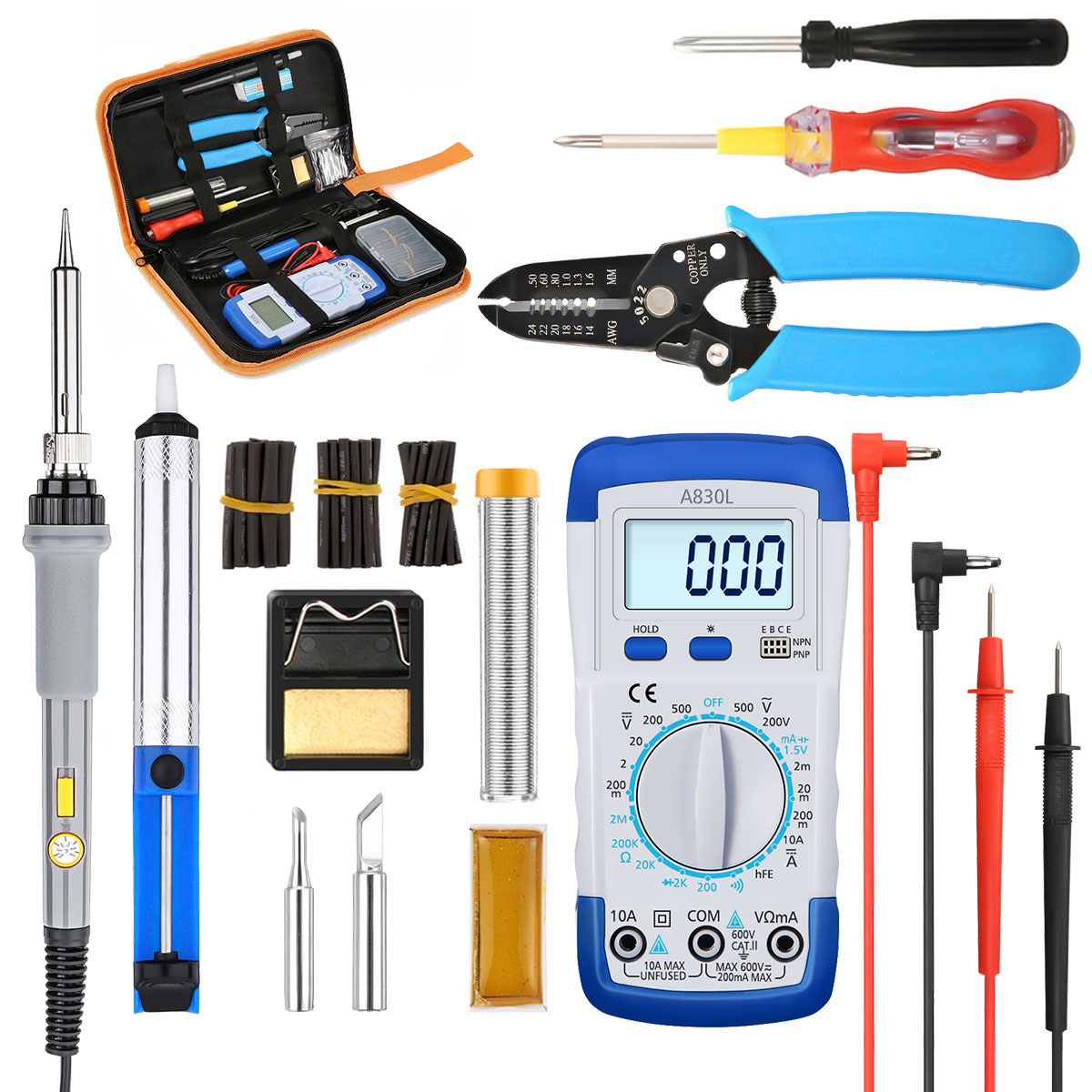 10Pcs/Set 110V 220V 60W Adjustable Temperature Electric Soldering Iron Kit Tips Heating Welding Tools With Multimeter EU/US Plug