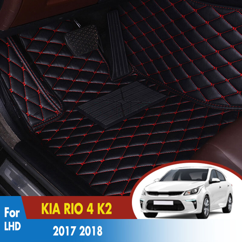 Car Floor Mats For KIA RIO 4 K2 2018 2017 Leather Rugs Dash Mats Cargo Liners Pads Auto Interior Accessories LHDCar Floor Mats For KIA RIO 4 K2 2018 2017 Leather Rugs Dash Mats Cargo Liners Pads Auto Interior Accessories LHD