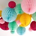 W 15 cm = 6 polegada de Tecido pompons de papel Flores de Papel bolas Poms favo lanterna Artesanato Decor Festa de Casamento multi whcn atacado