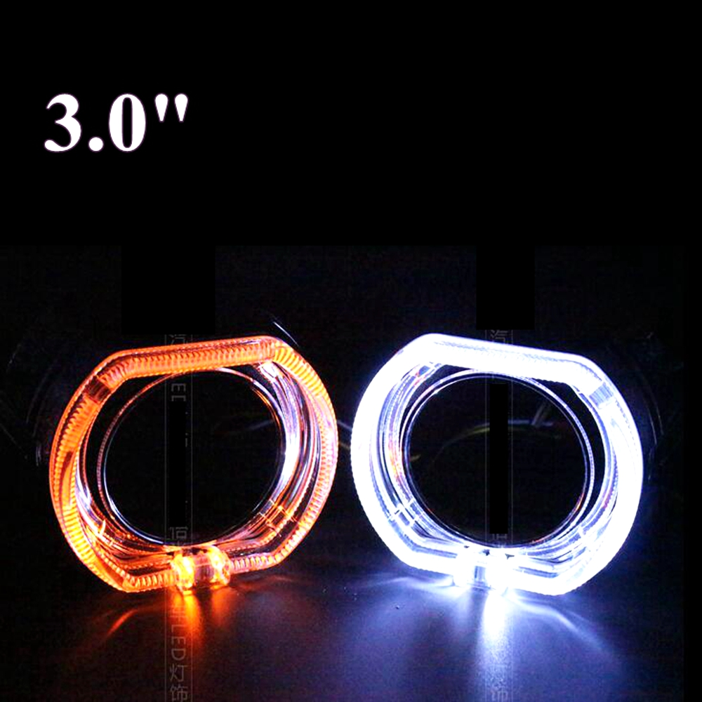 2pcs 3.0 inch for bmw led day running angel eyes  Projector lens shrouds white color H1 H4 H7 hid xenon kit headlight mp620 mp622 mp625 projector color wheel mp620 mp622 mp625