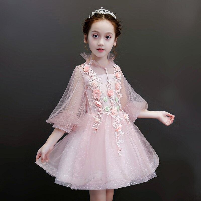 все цены на Appliques Flower Girl Dresses Wedding Evening Gowns Lantern Sleeve Tulle Princess Birthday Prom Dress Kids Pageant Dress B290