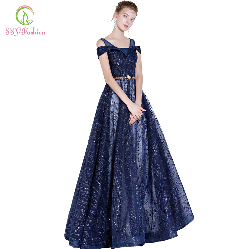 SSYFashion New Blue Evening Dress Banquet Blingbling Sequined Floor ...