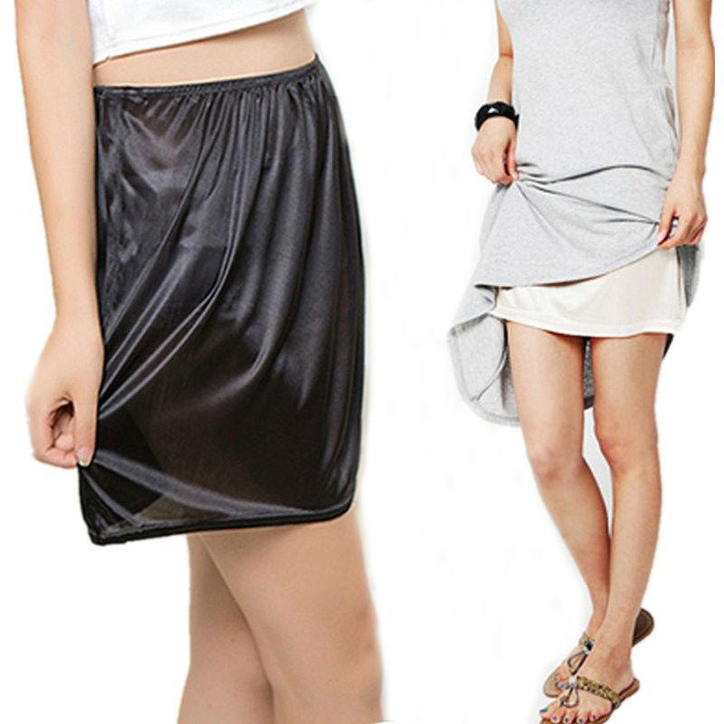 Summer Slips Mujer Casual Homme Seda pura Mini faldas Sexy Lady Underdress Vestidos Mujeres Loose Half Slips Petticoat underkirt