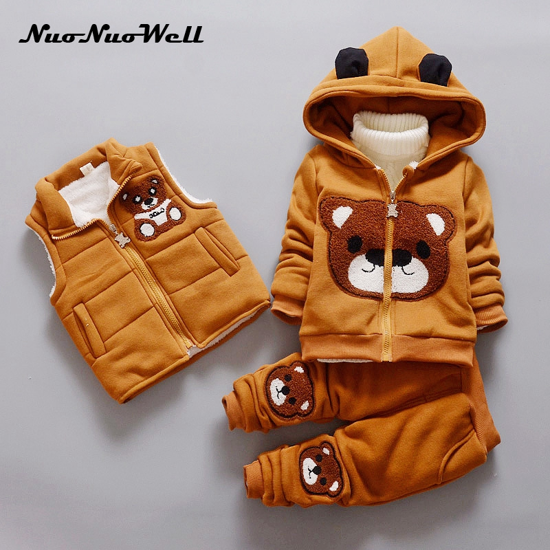 NNW Winter Children Sets Boys Girls Clothing Sets Winter 3Pcs Hoody Thicker Jacket+Pants+Vest Warm Kids Clothes Suit Costume autumn winter boys girls clothes sets sports suits children warm clothing kids cartoon jacket pants long sleeved christmas suit