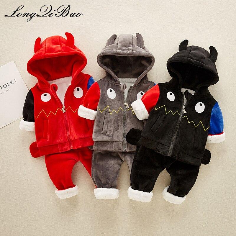 Высокое качество хлопка маленькие монстры Детские двух частей осенняя и зимняя одежда От 0 до 2 лет одежда для малышей Зима хлопок