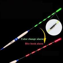 스마트 낚시 플로트 물린 경보 물고기 미끼 LED 빛 색상 변경 어둠 속에서 자동 야간 전자 부표 광선 변경 CR425