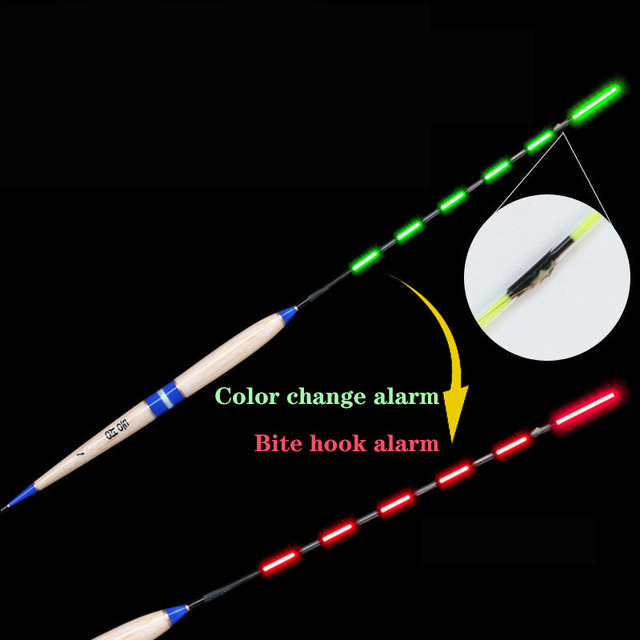Smart Fishing Float Bite Alarm Fish Bait LED Light Color Change Automatic Night Electronic Changing Buoy Glow In The Dark CR425