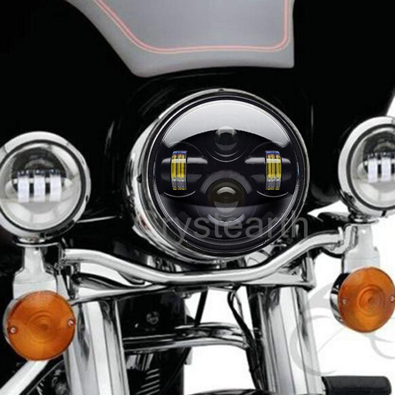 For Harley Street 750 LED Headlight 5 3/4 Headlamp Motorcycle Head Light Lamp H4 led 5.75 inch For Sportster 883 XL1200 XL883 motorcycle cnc aluminum headlight grill cover for harley sportster xl883 xl1200 2004 2014
