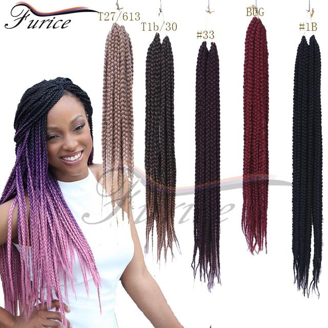 Crochet Box Braids Hair Medium Length Pre Twisted BOX Black Brown Burgundy Synthetic Braiding