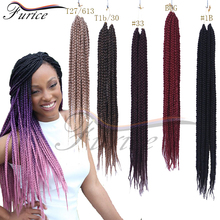 Crochet Box Braids Hair Medium Length Pre twisted BOX Braids Black Brown Burgundy Synthetic Crochet Braiding Hair Extension