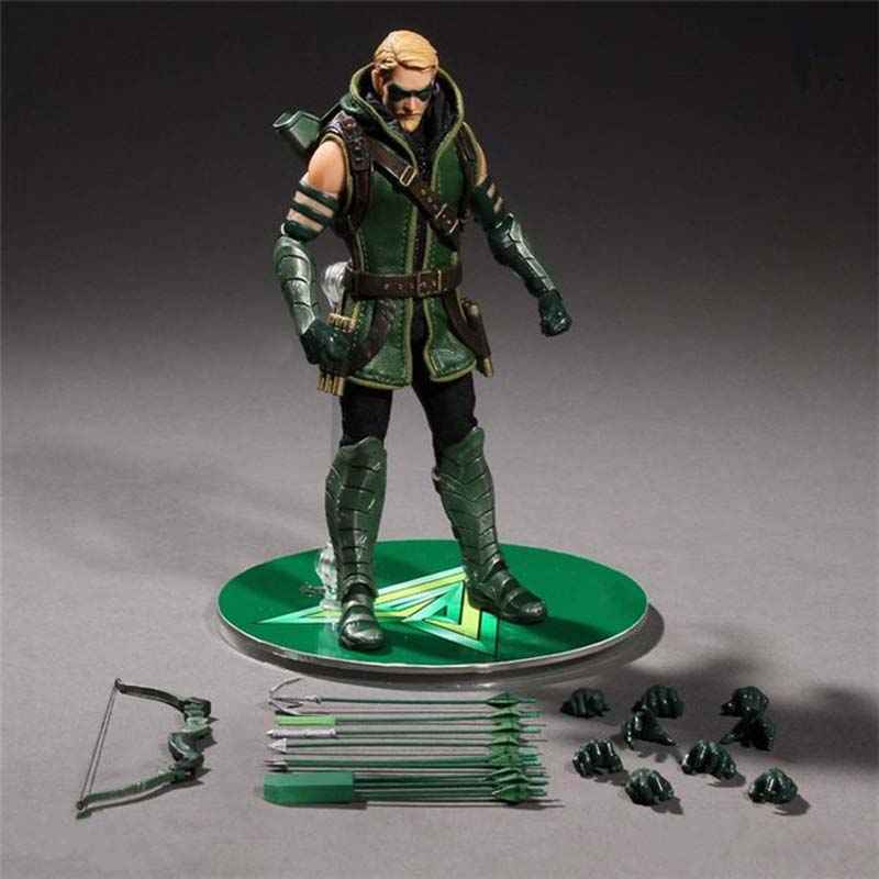 Free Shipping 6 Super Hero JLA The Green Arrow Oliver Queen Real Cloth Ver. Boxed 15cm PVC Action Figure Model Doll Toys Gift цена