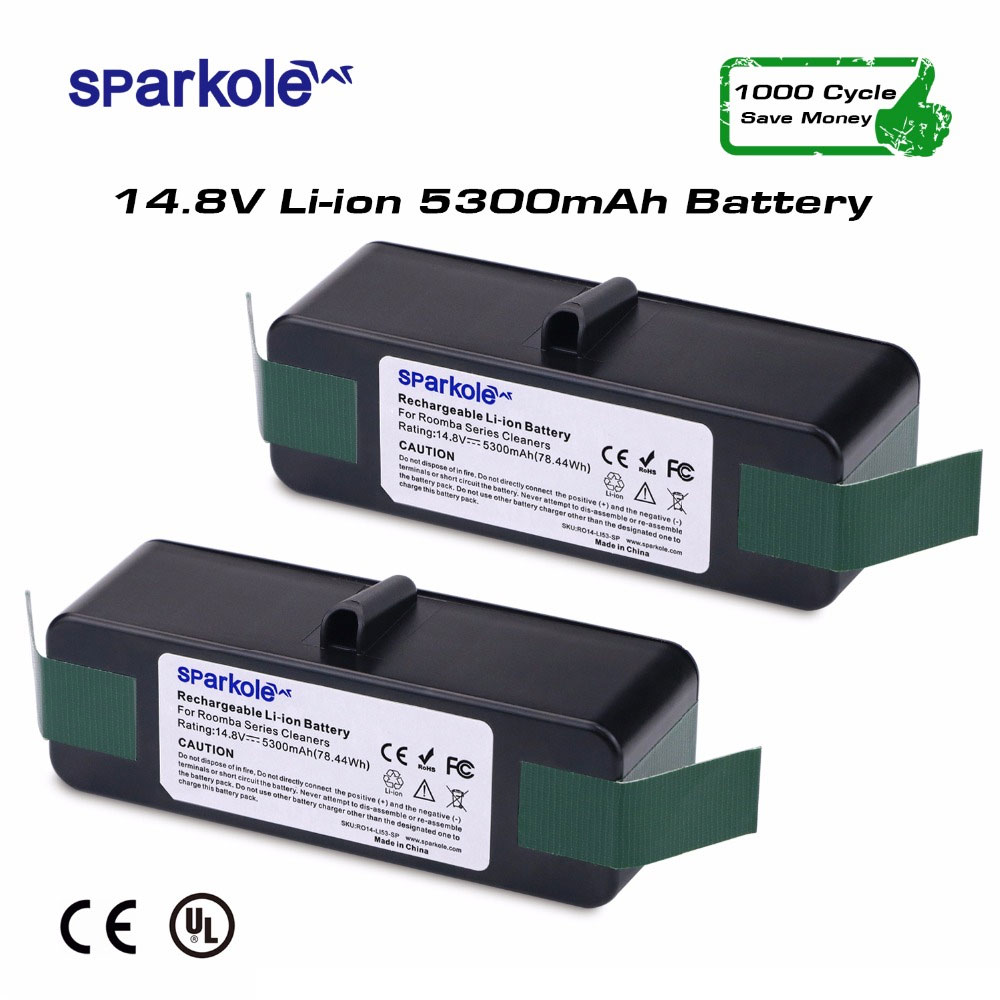 Sparkole 2pcsx 5300mAh 14.8V Lithium Rechargeable Battery for iRobot Roomba 500 550 560 600 650 700 800 900 Vacuum Cleaner UL&CE
