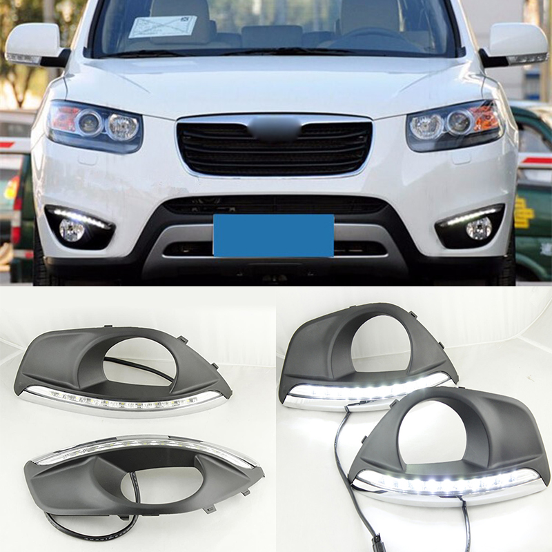 LED Car DRL Daytime Running Lights For Hyundai Santa Fe 2010 2011 2012 With Fog Lamp Hole Dimming Style drl daytime running lights for audi a4 b8 2009 2010 2011 2012 auto led day driving lamp with fog lamp hole free shipping