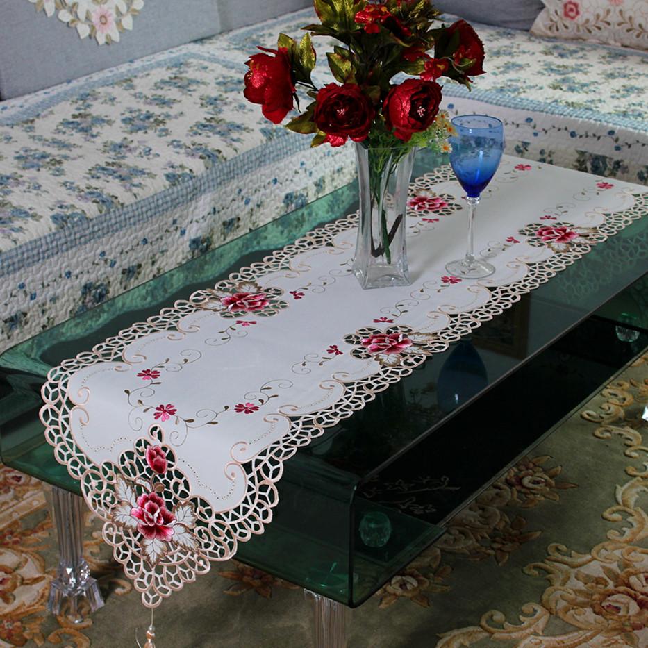 nueva polister bordado moda camino de mesa de encaje floral cubiertas a prueba de polvo para