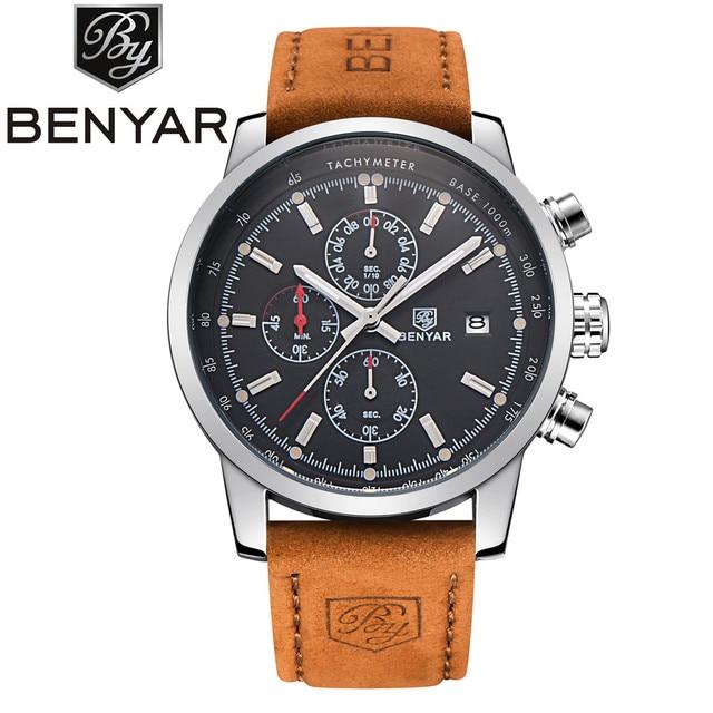 Benyar marca sport reloj de los hombres de primeras marcas de lujo de cuero masculino impermeable cronógrafo de cuarzo militar reloj de pulsera hombres reloj saat