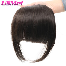 USMEI 3 colors 35G Natural Bang Flase Hair Black Brown Blonde Clip In Hair On Bangs Synthetic Hair Fringe for all women