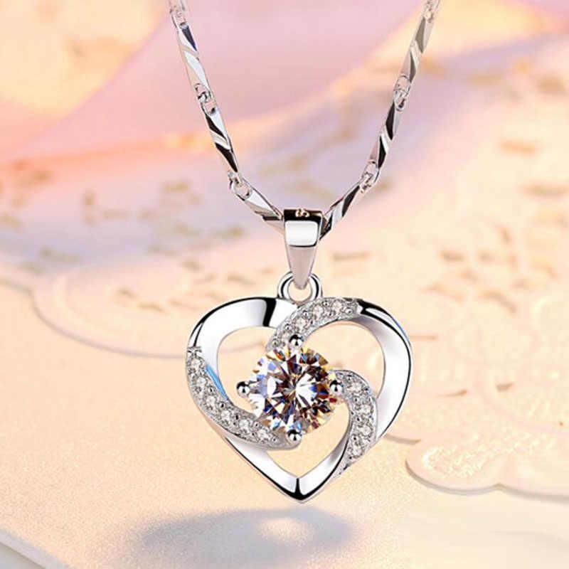 Kofsac Baru Mewah Crystal CZ Jantung Liontin Kalung Kalung 925 Sterling Silver Rantai Kalung untuk Wanita Hadiah Perhiasan Pernikahan