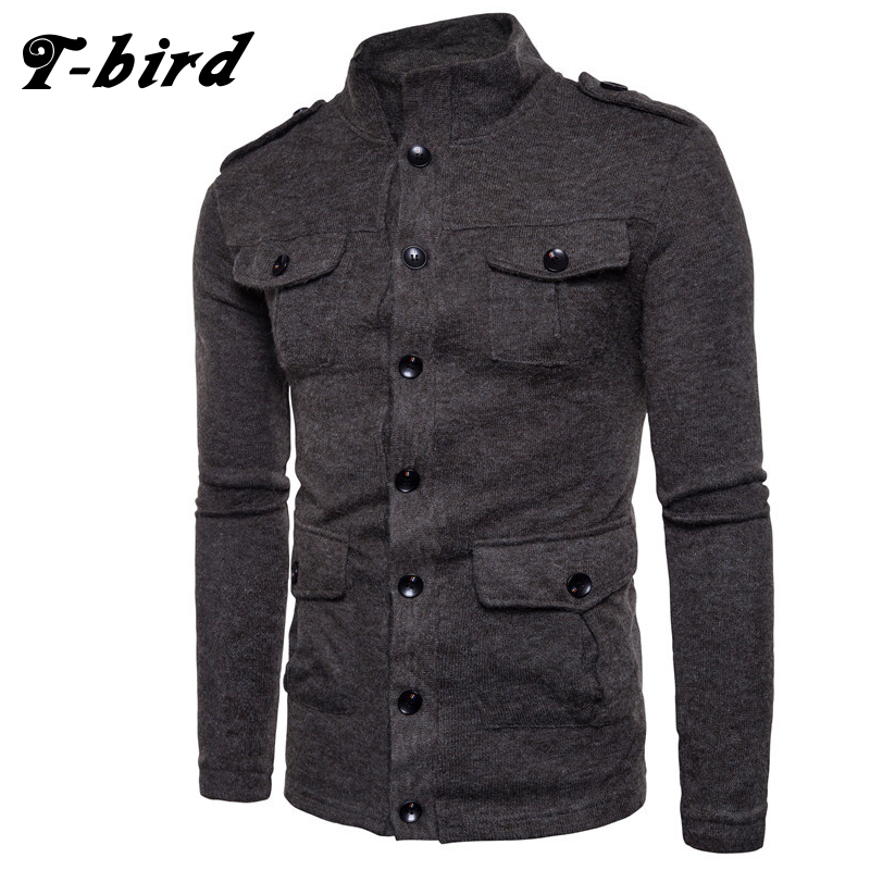 T-Bird Autumn Winter Men Cardigan Sweater Long Sleeve High Collar Sweater Single Breasted Slim More Pocket Slim Knitted Sweater ...