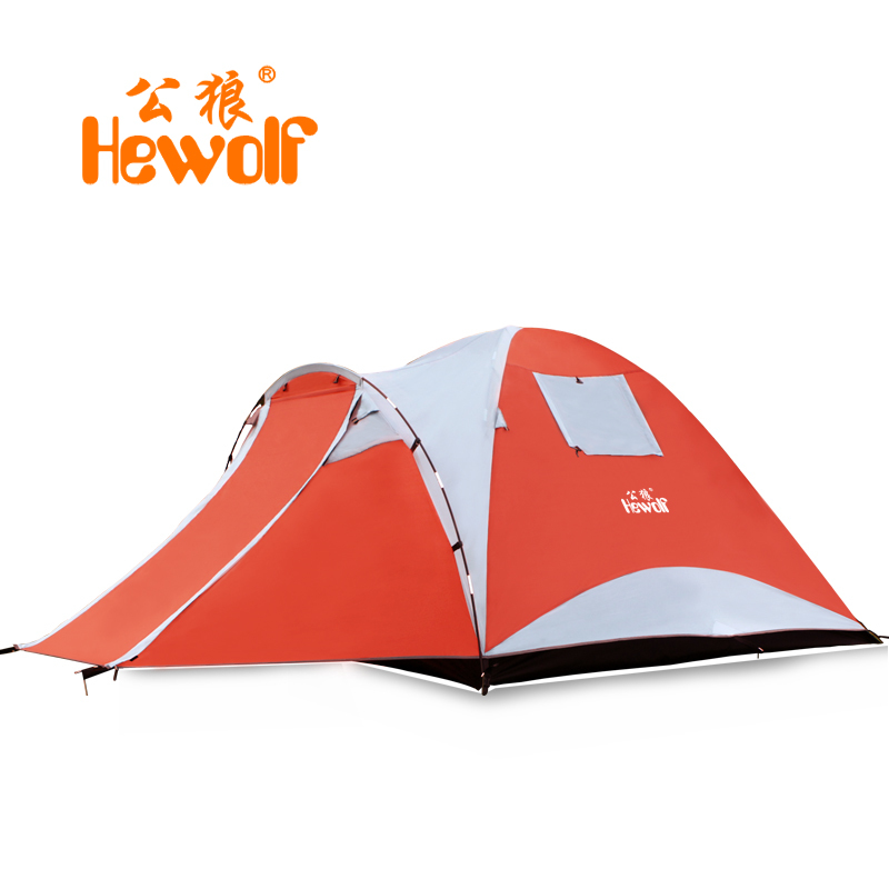 Hewolf Camping Travel Picnic Tent 3-4 People Double Layer Anti-tear Durable High Quality Tents And Waterproof Windproof 1900 hewolf waterproof double layer 2 3
