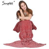Simplee теплый вязаный Русалка одеяло принцесса рыбий хвост для детей и взрослых диван спальный мешок осень мягкая Handmake крючком Wrap постельные ...
