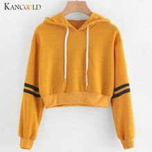 KANCOOLD top T-Shirt Donna Varsity-A Strisce Coulisse Crop Felpa Con Cappuccio Top Jumper Crop Pullover di modo nuovo top femme 2019FEB4(China)