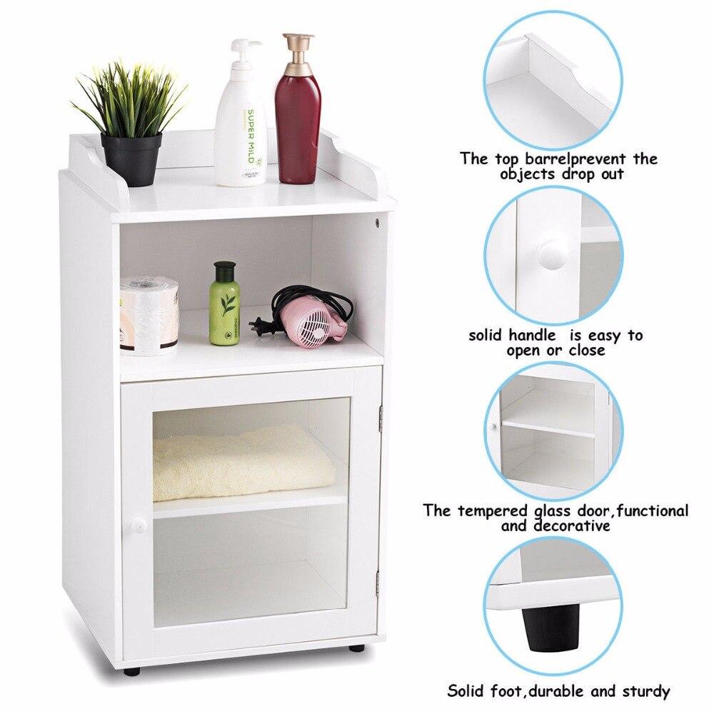 Giantex Bathroom Floor Cabinet End Table Storage Adjustable Shelf Organizer W/Door White HW59316 8
