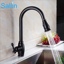 hot deal buy 2017 newest luxury black bronze kitchen faucet cold and hot pull out kitchen faucet mixer shower sprayer kitchen sink faucet tap