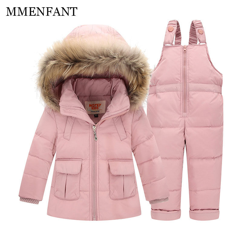 2pc Children clothes Winter Down Jacket Baby Warm Outerwear Coats Girls Set Coat Kids Ski Suit Jumpsuit For Boys Baby Overalls все цены