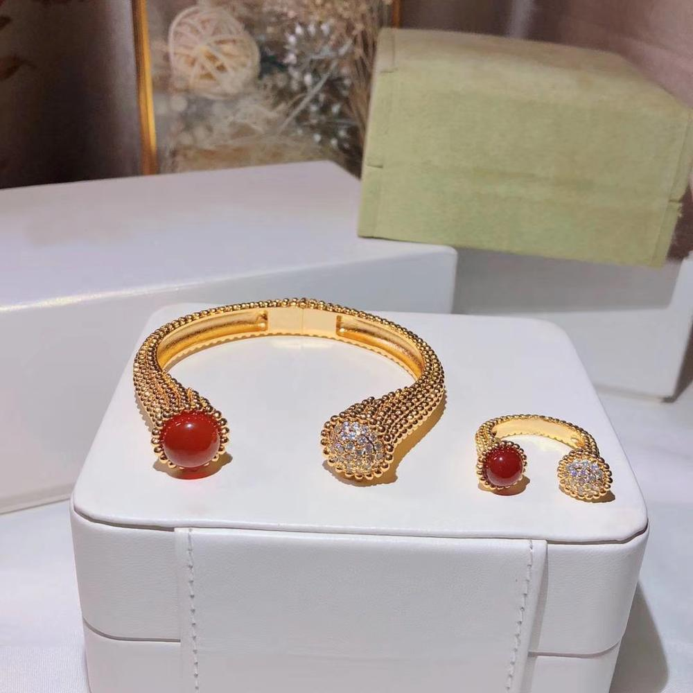 Dubai fashion zircon color stone round tag open rings and cuff bead band bangle bracelet designer