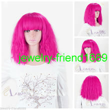 Wholesale heat resistant LY free shipping New wig Cos LADY GAGA Short Rose Fireworks Very Hot