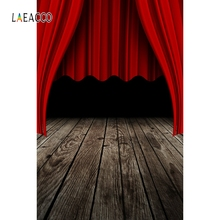 Laeacco Wooden Board Stage Red Curtain Backdrop Portrait Photography Background Custom Photographic Backdrops For Photo Studio allenjoy photographic background luxury shining red carpet curtain photography fantasy fabric vinyl backdrops studio party